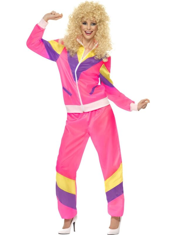 pink retro shell suit smiffys adult costume sunbury costumes
