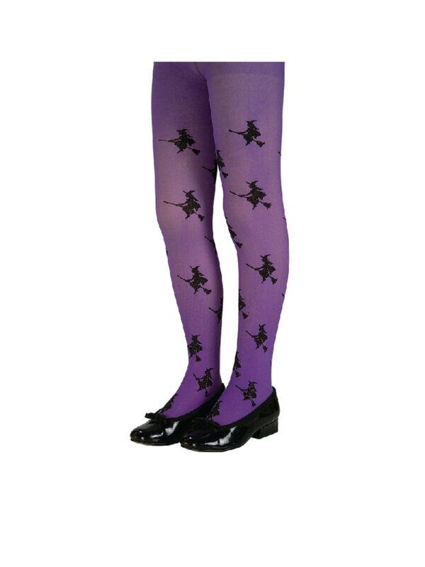 glitter witch purple child tights stockings sunbury costumes