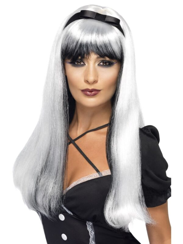 Bewitching Wig, Silver over Black Sunbury Costumes