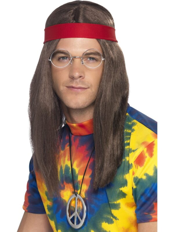 Hippy Man Kit, Brown Wig, Specs, Peace Sign Medallion & Headband Sunbury Costumes