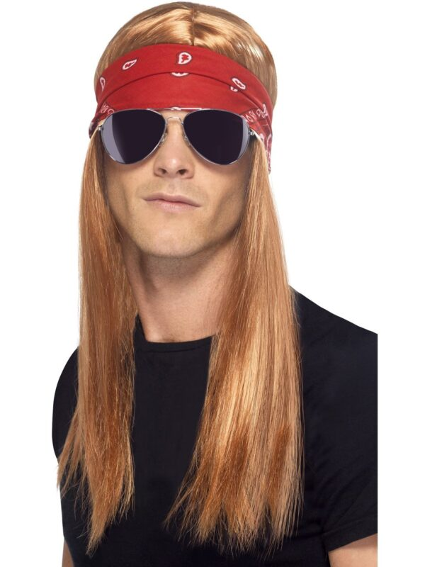90's Rocker Kit, with Auburn Wig with Bandana and Sunglasses Sunbury Costumes