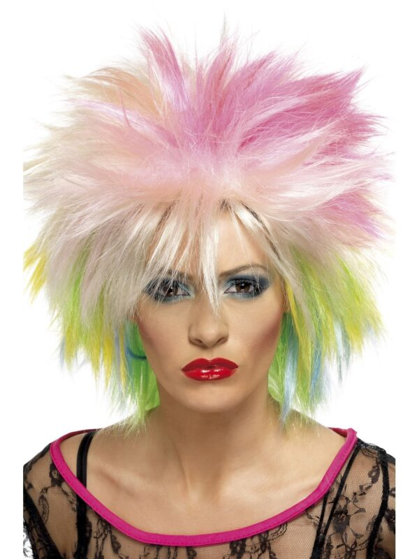 80's Attitude Wig, Multi coloured, Short and Spiky Sunbury Costumes