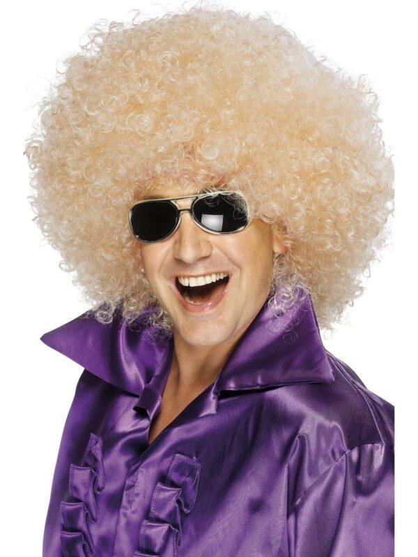Blonde Mega Huge Afro Wig, 70's Disco Sunbury Costumes