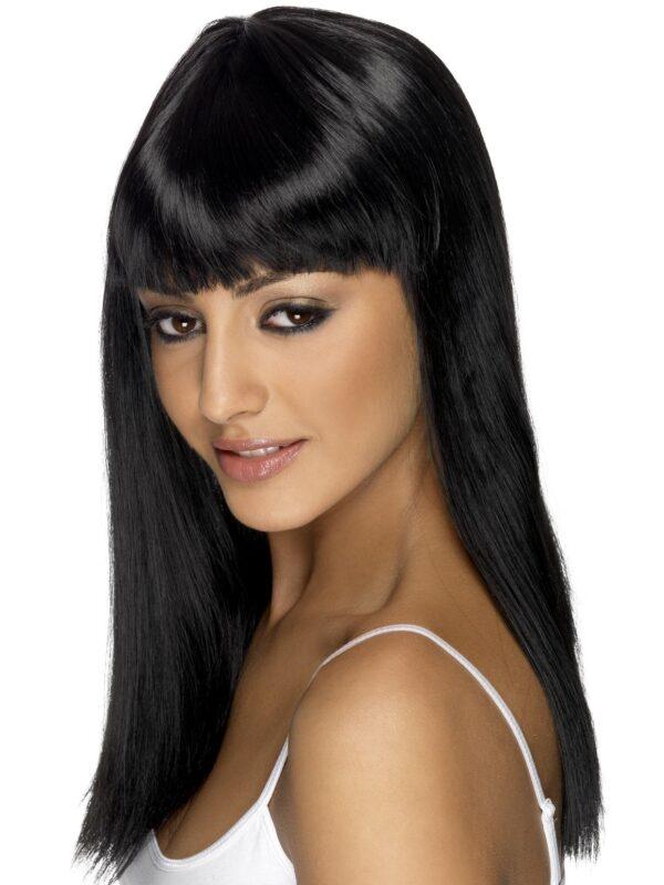 Glamourama Wig, Black, Mid-Long, Straight with Fringe Sunbury Costumes