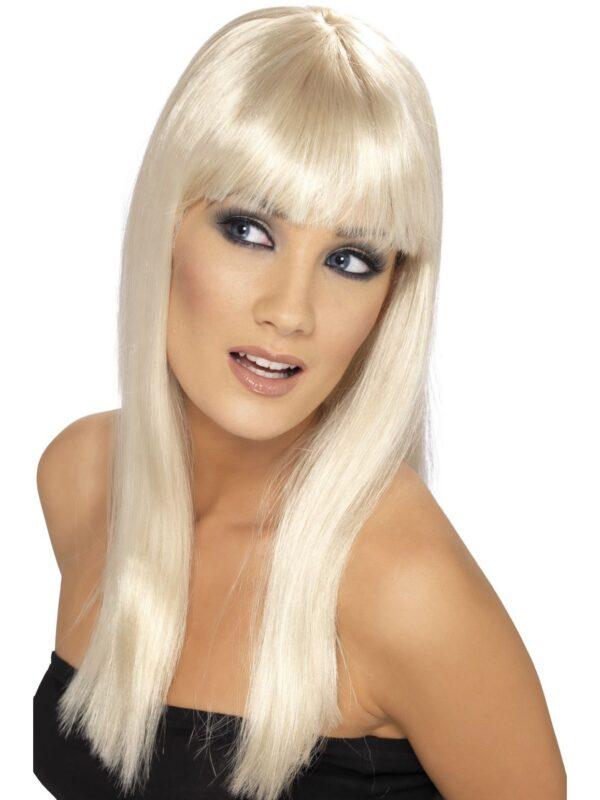 Glamourama Wig, Blonde, Long, Straight with Fringe Sunbury Costumes