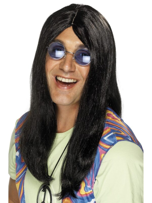 Hippy Wig Long Black, 60's, 70's Festival Sunbury Costumes