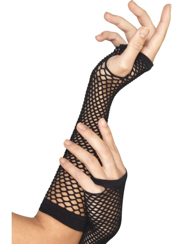 80s 90s black long fishnet gloves sunbury costumes
