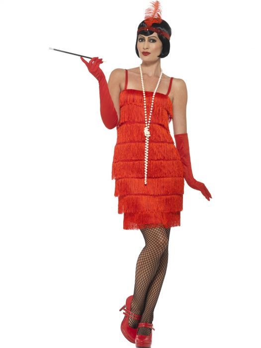 red short fringed flapper costume 1920s smiffys sunbury costumes