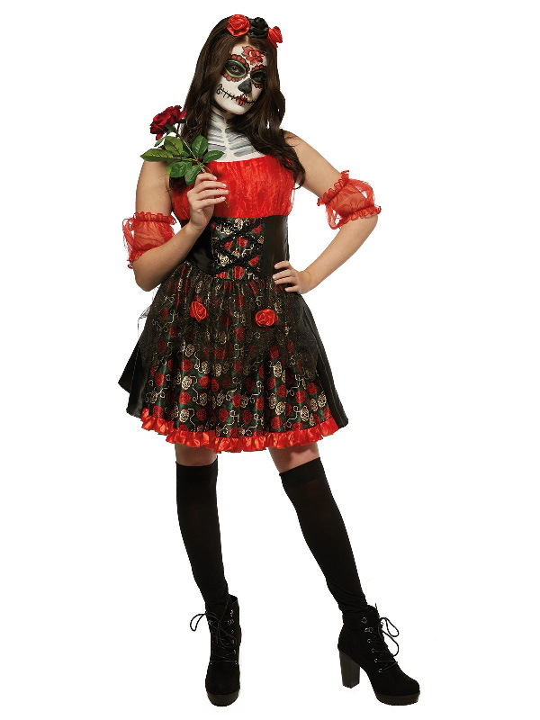 red rose day of the dead halloween ladies costume sunbury costumes