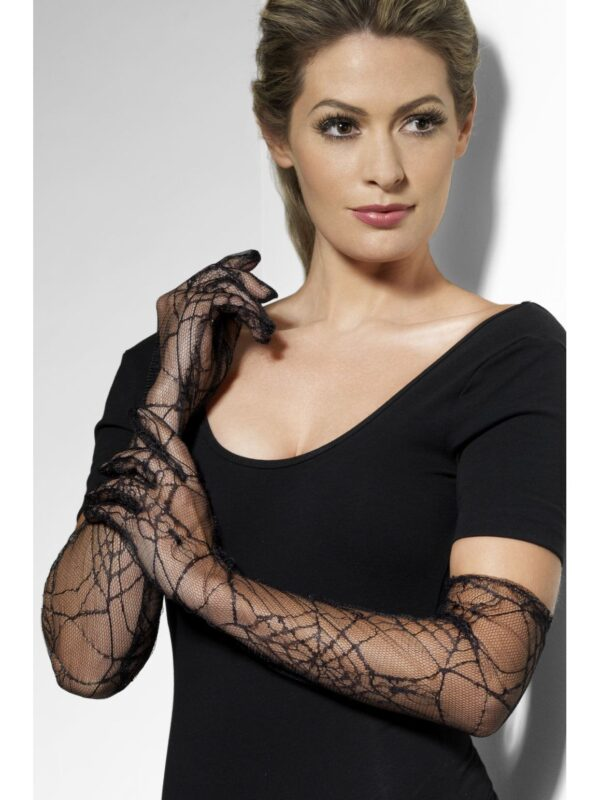 black lace long halloween spiderweb gloves sunbury costumes