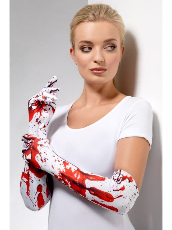 blood splatter white red long gloves sunbury costumes