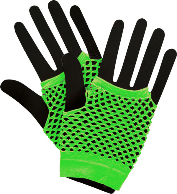 neon green 80s short fishnet gloves sunbury costumes