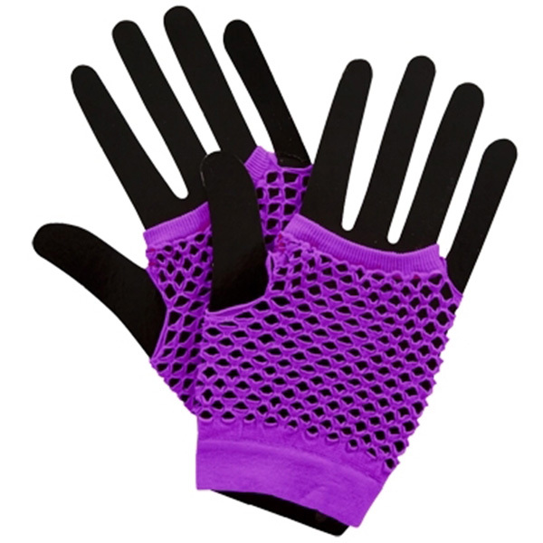 neon purple 80s short fishnet gloves sunbury costumes