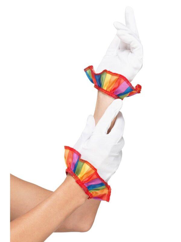 clown short white gloves rainbow frills sunbury costumes