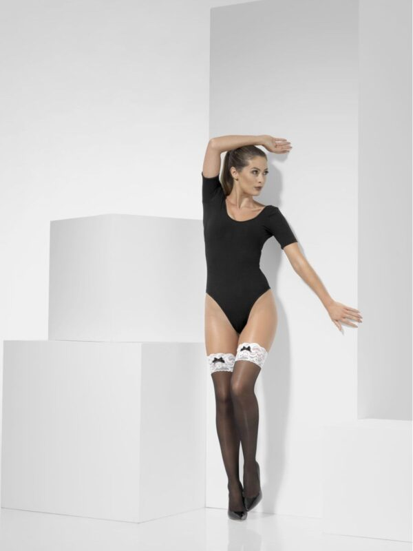 french maid opaque hold ups hosiery ladies sunbury costumes