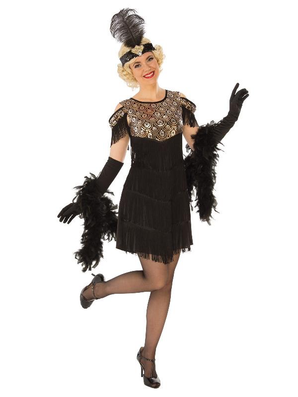 1920s flapper ladies black gold adults dress costume sunbury costumes
