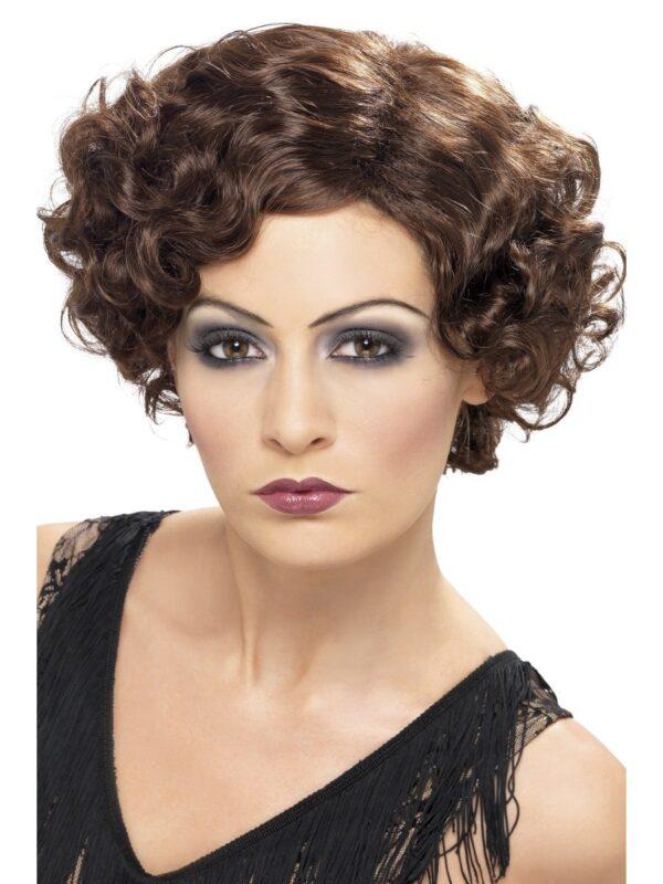 20s brown flapper short wavy wig sunbury costumes