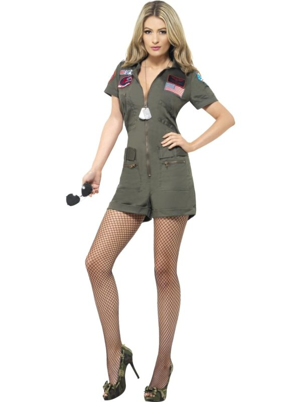 top gun 80's ladies playsuit aviator pilot sunbury costumes