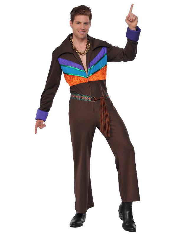 70s mens costume brown flared jumpsuit hippie guy sunbury costumes