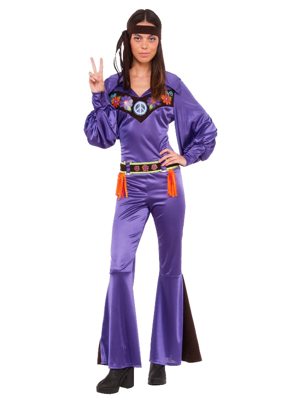 70s ladies costume one piece jumpsuit purple satin flares peace sunbury costumes