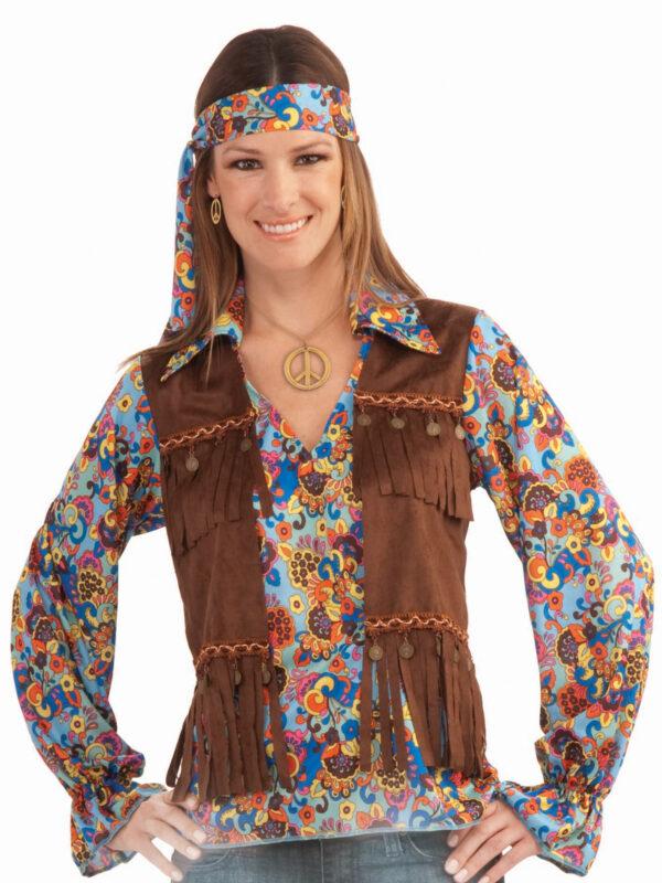 hippie 60s costume kit ladies shirt vest sunbury costumes