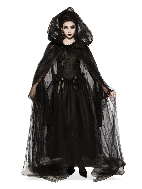 black hooded lace tulle robe cape halloween gothic sunbury costumes