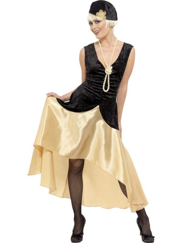 1920s gatsby girl costume ladies dress black gold accessories sunbury costumes