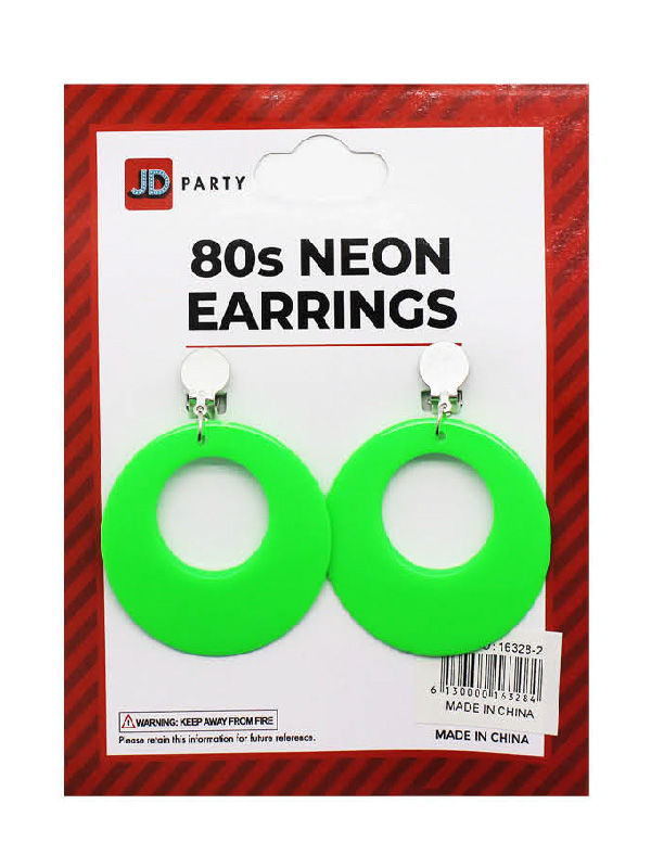 80s neon green earrings clip on accessories sunbury costumes