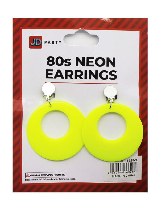80s neon yellow clip on earrings accessories sunbury costumes