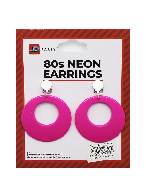 80s neon pink earrings accessories hooped circle clip on sunbury costumes